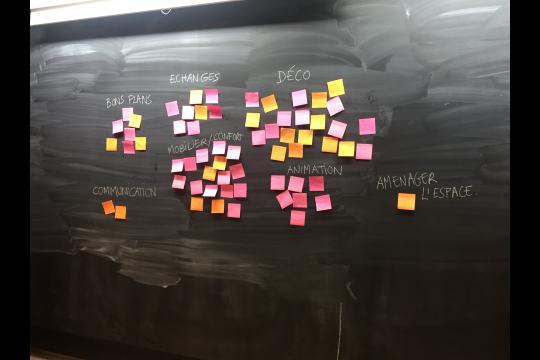 Brainstorming sur l'espace partagé des Grands Moulins durant l'atelier au FabLab Paris Diderot
